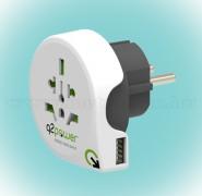 Utazó adapter USB aljzattal
