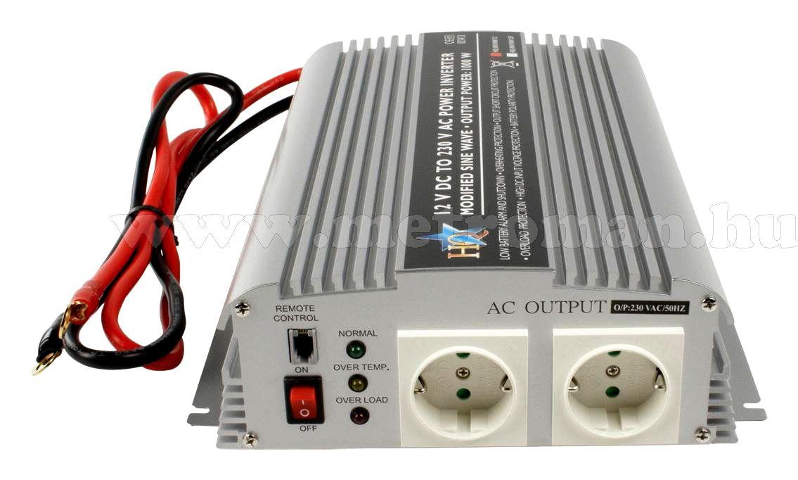 Feszültségátalakító , inverter  , 1000 W  HQ-INV1KW  ,  12 / 230 Volt