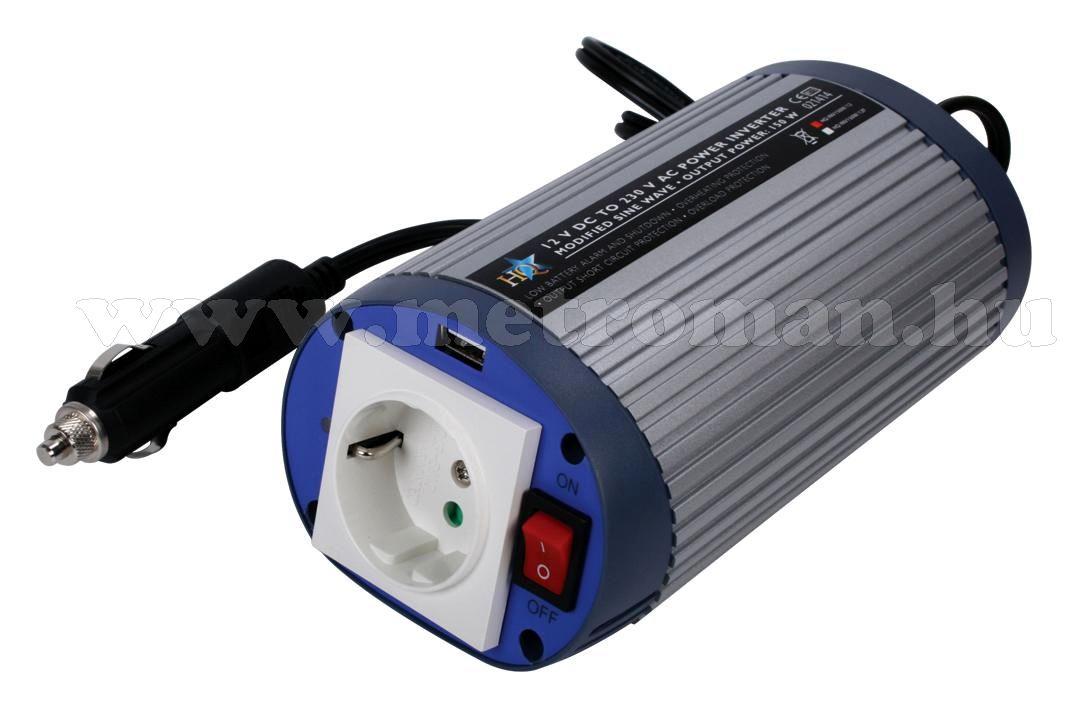 Feszültségátalakító , inverter  , 150 W HQ-INV150W  ,  24 / 230 Volt + USB