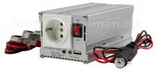 Feszültségátalakító , inverter  , 300 W  HQ-INV300WU + USB ,  24 / 230 Volt
