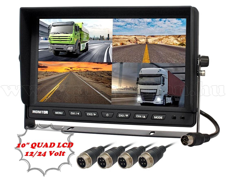 Ipari kivitelű autó, kamion, busz, munkagép LCD monitor tolatókamerához MM1000-QUAD 12/24V