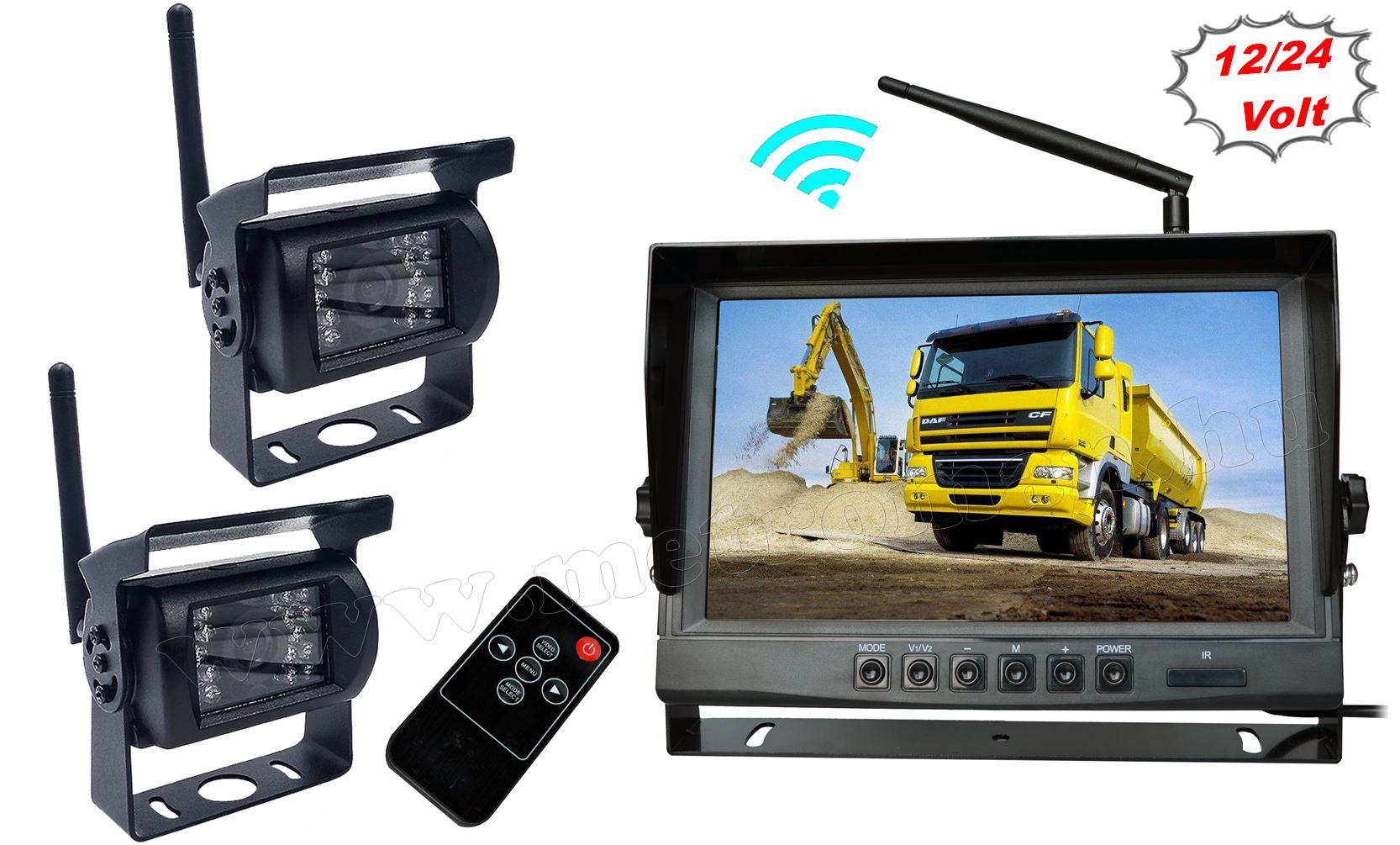 """Vezeték nélküli kétkamerás tolatókamera szett 9""""-os HD LCD monitorral MM9006WA/2 12/24 Volt"""