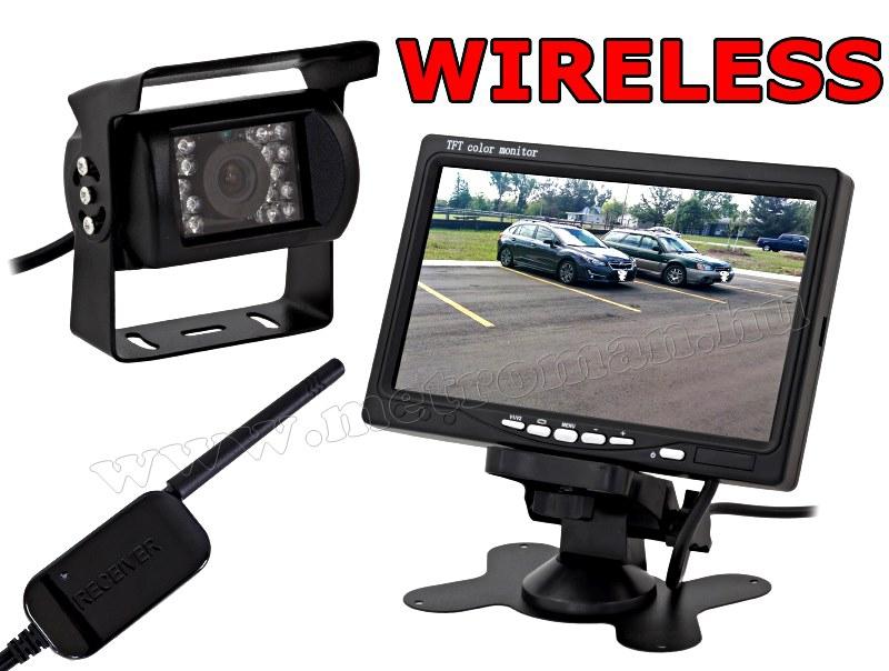 """Vezeték nélküli tolatókamera szett 7""""-os LCD monitorral MM-307 12/24 Volt"""