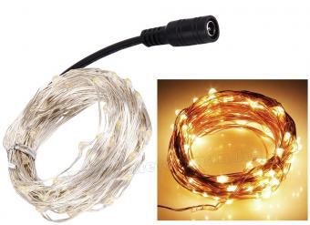 12 Voltos micro LED-es fényfüzér MLED-100-WW-12V Meleg Fehér