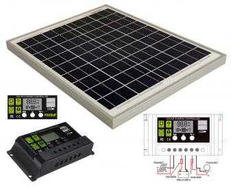 12V 20 Watt napelemes töltő szett töltésvezérlővel Poly Solar MP-20W-10A-PWM