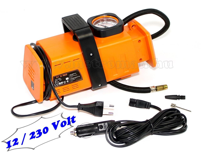 Autós kompresszor, autópumpa 12/230 Volt, MM-9835A