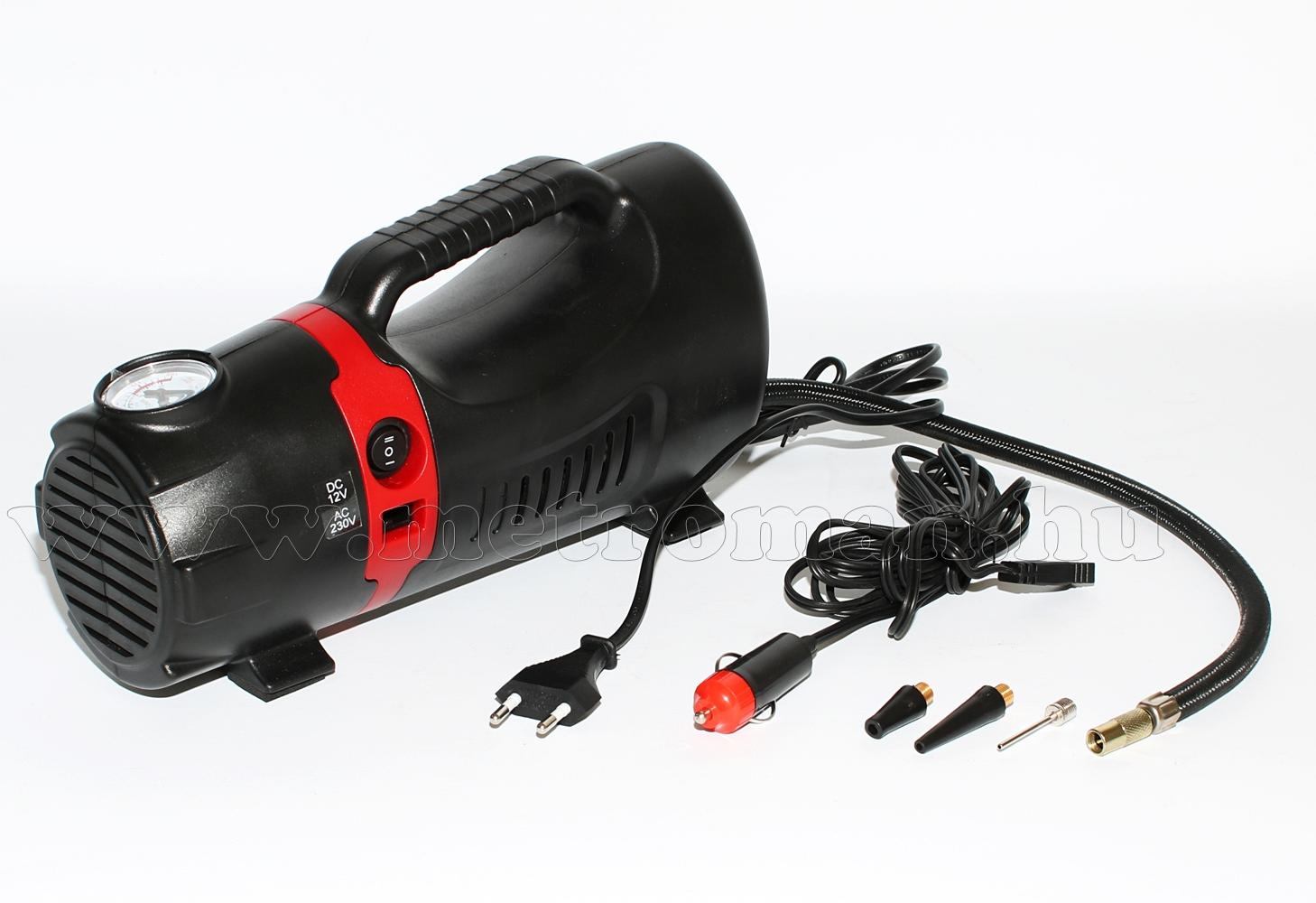 Autós kompresszor, autópumpa 12/230 Volt, MM-8723A
