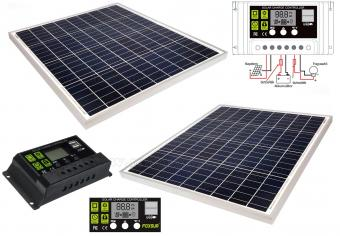 12V 2X60 Watt napelemes töltő szett töltésvezérlővel Poly Solar MP-120W-10A-PWM