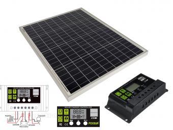 12V 50 Watt napelemes töltő szett töltésvezérlővel Poly Solar MP-50W-10A-PWM