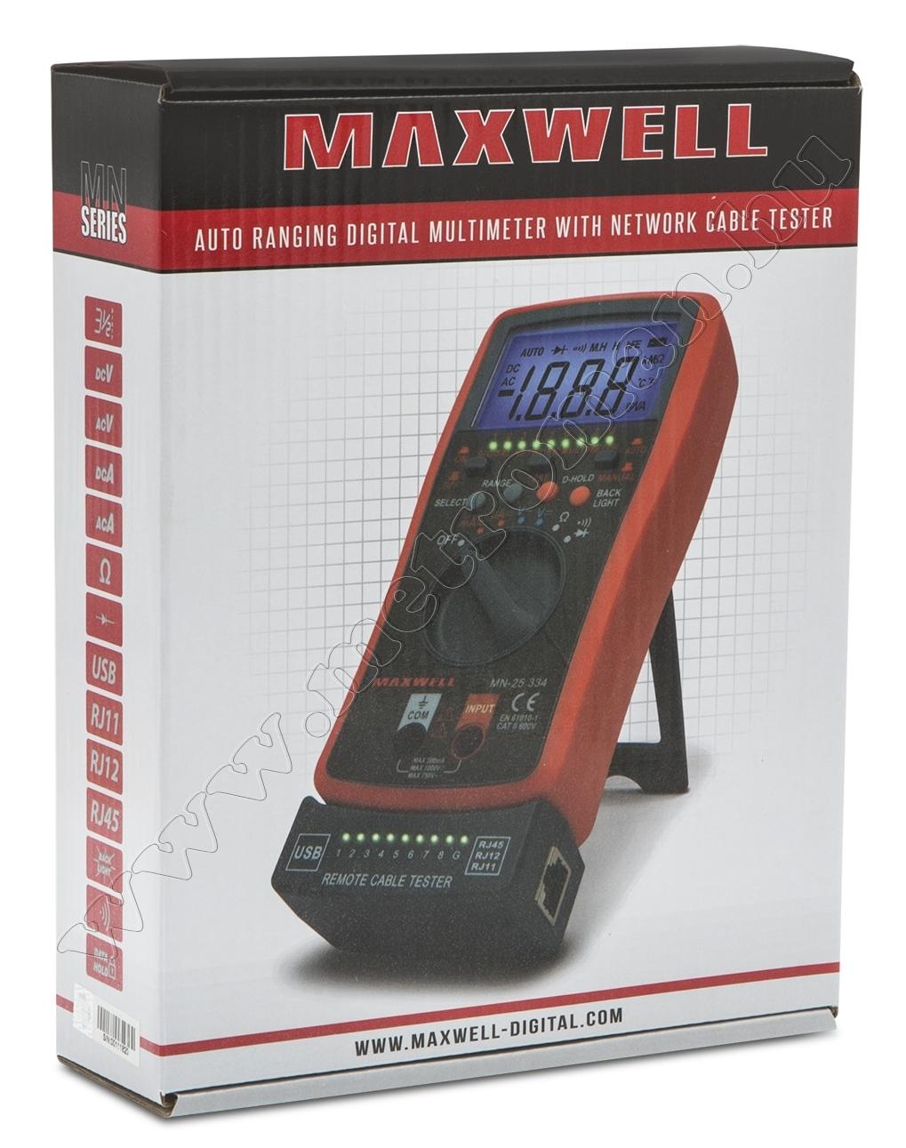 Digitális multiméter és automata kábelteszter Maxwell 25334