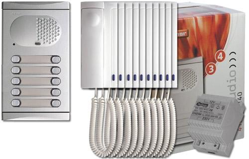 Komplett 10 lakásos kaputelefon szett, Golmar 4210/AL