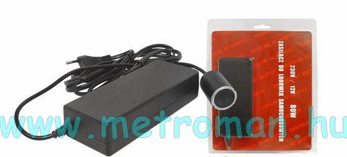 Kapcsoló üzemű hálózati adapter szivargyújtó aljzattal, 230/12 V, 80 W, LX-P12