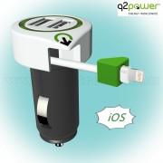 Autós, szivargyújtós USB töltő, Lightning csatlakozóval 3,1 A 3.100120