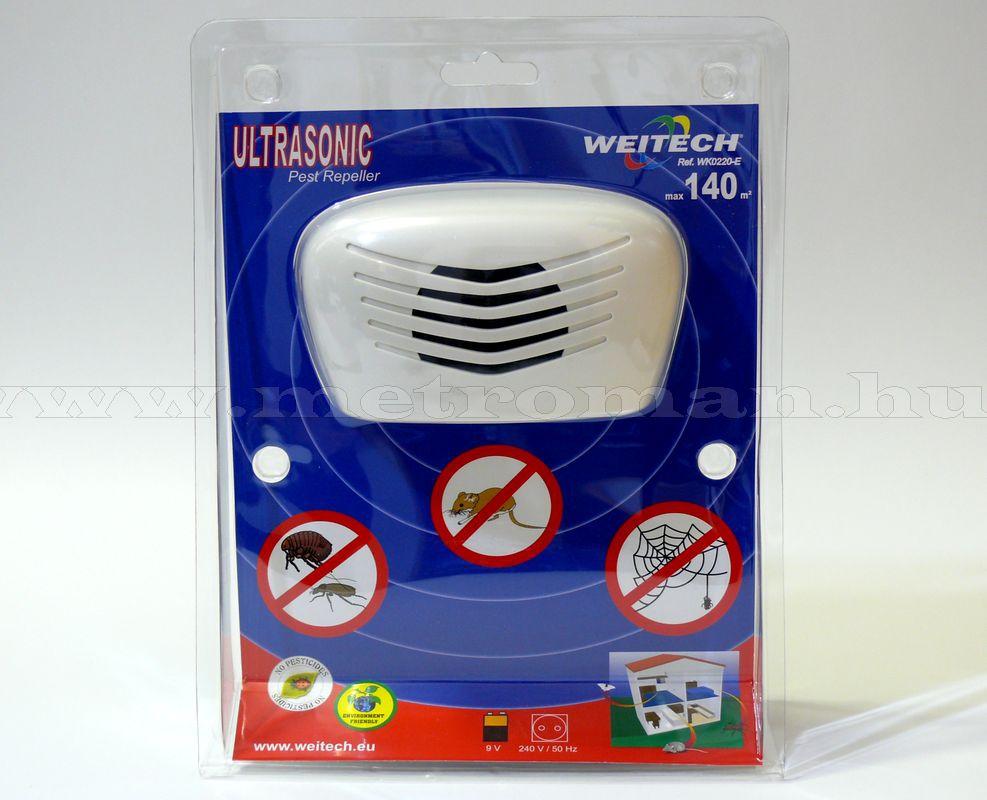 Elektromos ultrahangos egér, bolha, pók riasztó, Weitech WK 0220