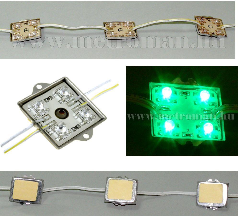 Vízálló beépíthető LED panel, 4 db nagyfényerejű zöld LEDDEL, OF-ALU4FXG