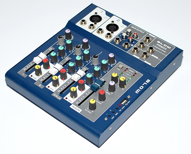 Audió 4 csatornás DJ és Karaoke Keverőpult USB MP3 lejátszóval PRMX4