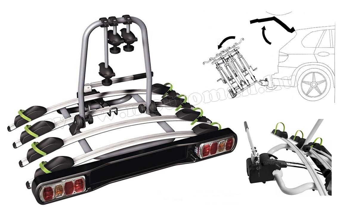 Autós kerékpártartó, kerékpárszállító vonóhorogra, Dönthető TB-009D4