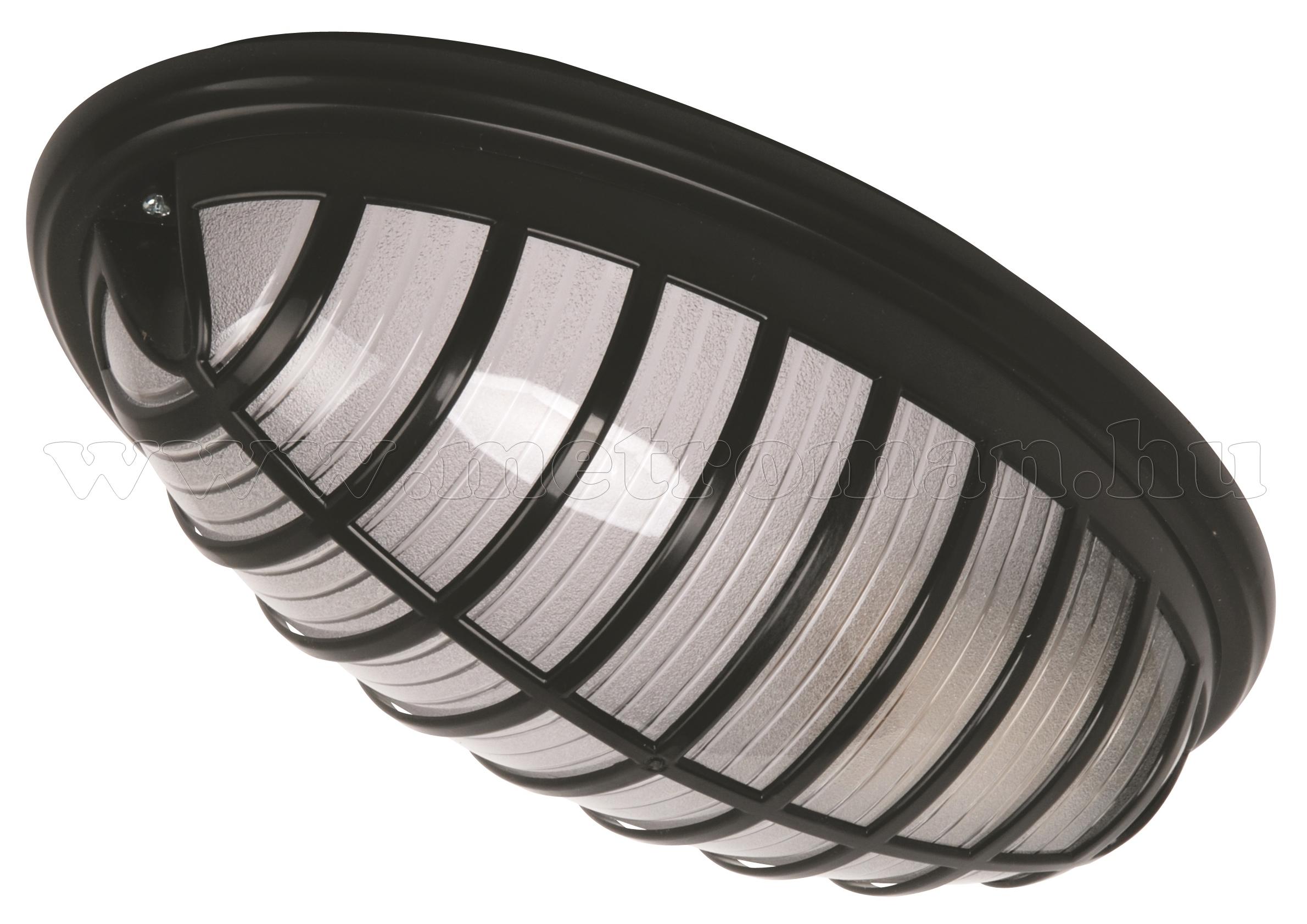 Mennyezeti lámpa IP54, ovális, rácsos, fekete színben 400.002.111