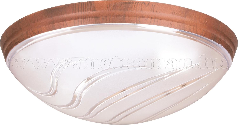Mennyezeti lámpa, kerek, műanyag, dió színben 400.030.104