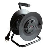 230 V-os hosszabbító kábel, 50 m-es gumírozott vezetékkel, kábeldobbal HRJ 10-50