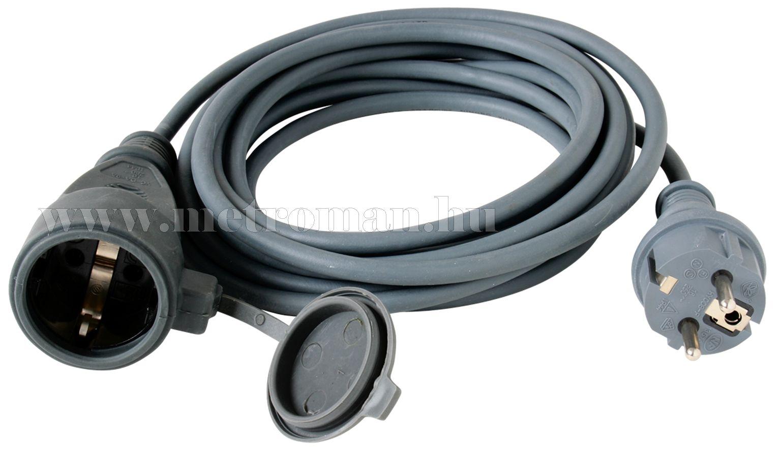 230 V-os gumi hosszabbító kábel, 10 m-es, NV 7-10/GY