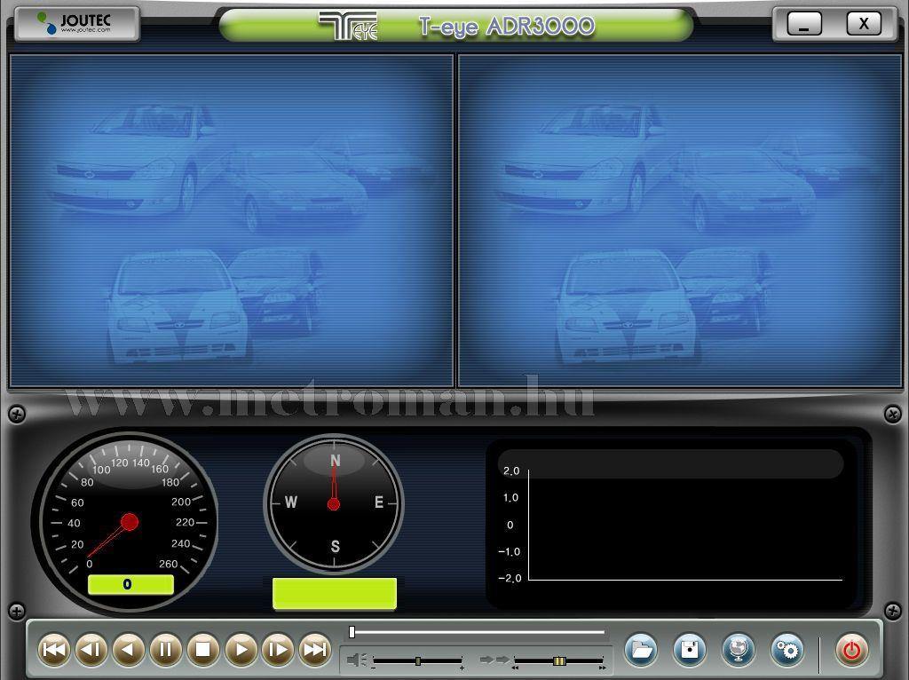 Autós automata kétkamerás menetrögzítő kamera, beépített GPS, T-EYE ADR-3000