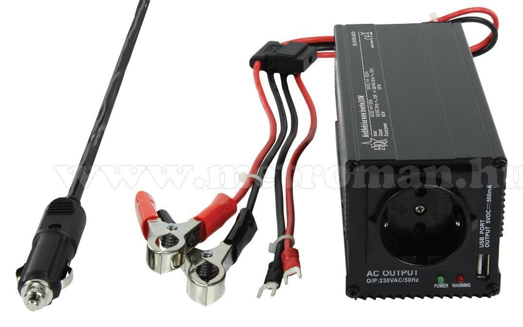Feszültségátalakító , inverter  , 350 W  HQ-INV350-AUTO  ,  12-24 /230 Volt + USB