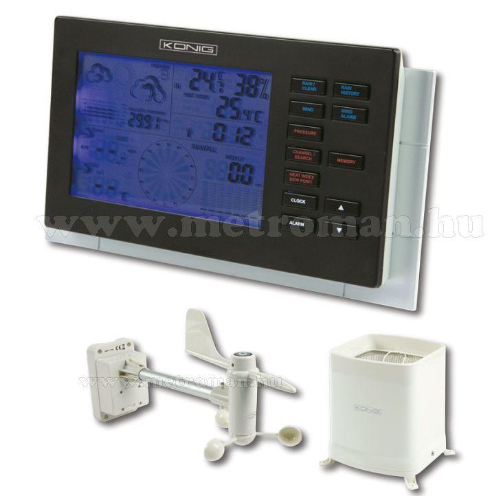 Profi vezeték nélküli időjárás állomás, szélsebesség, szélirány és csapadék  mérővel, König KN-WS600