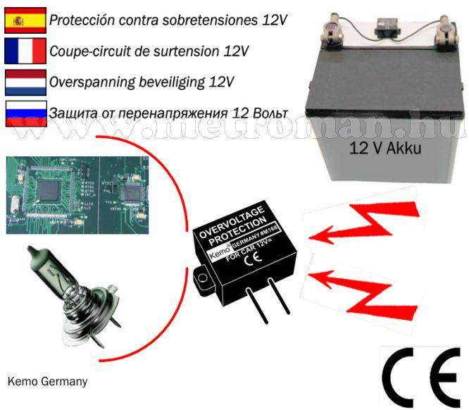 Autós túlfeszültség és izzókiégés gátló elektronika, Kemo M168