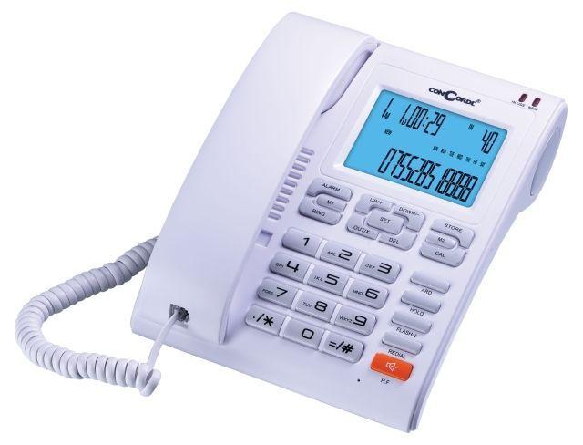 Vezetékes telefon , memóriával , hívószám kijelzéssel , ConCorde 6025CID Fehér