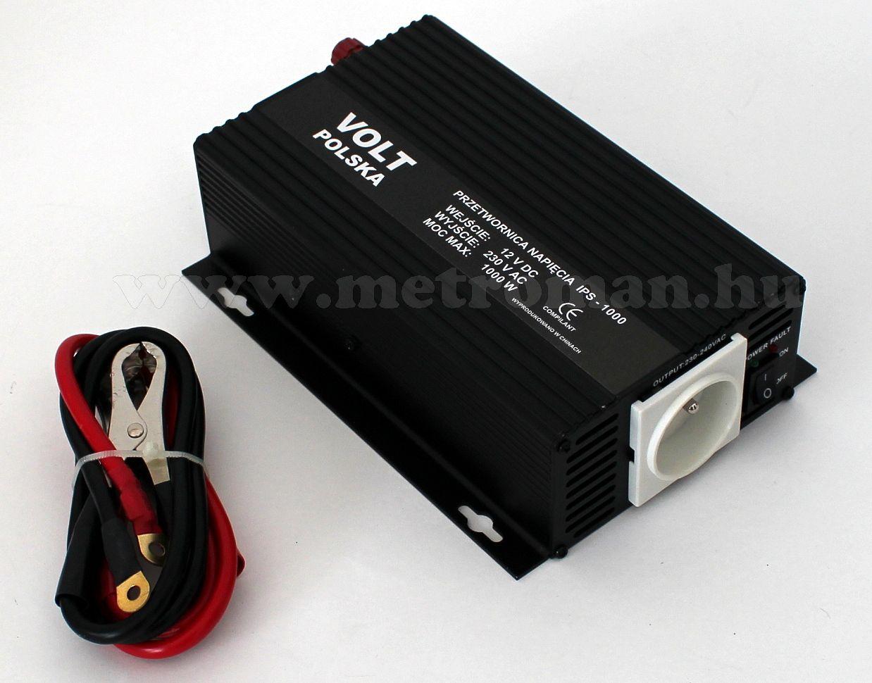 Feszültségátalakító , inverter  , 750 W  24 / 230 Volt,  IPS1000, ( francia csatlakozós )