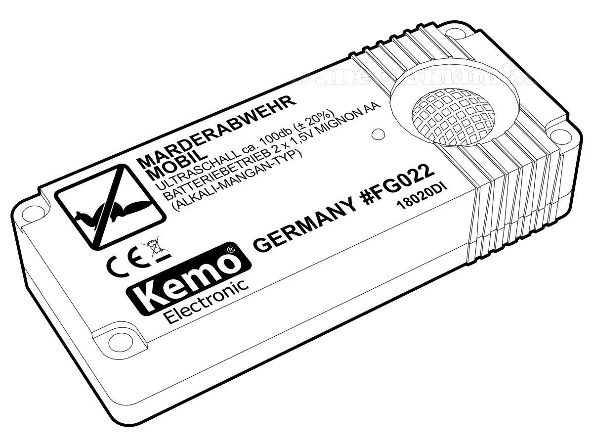 Elektromos ultrahangos nyest és rágcsáló riasztó, KEMO FG022