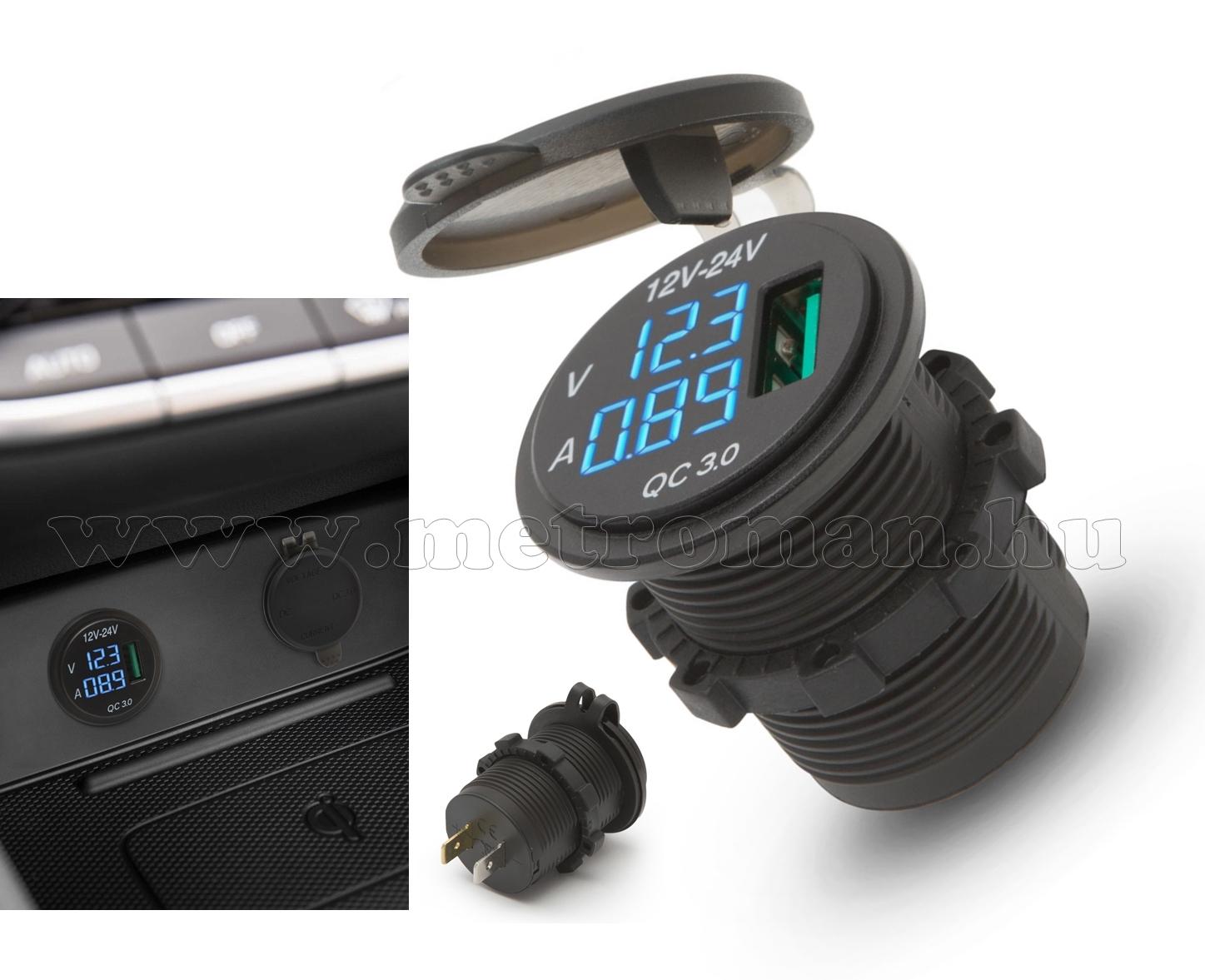 Beépíthető autós USB töltő aljzat és feszültségmérő 54927
