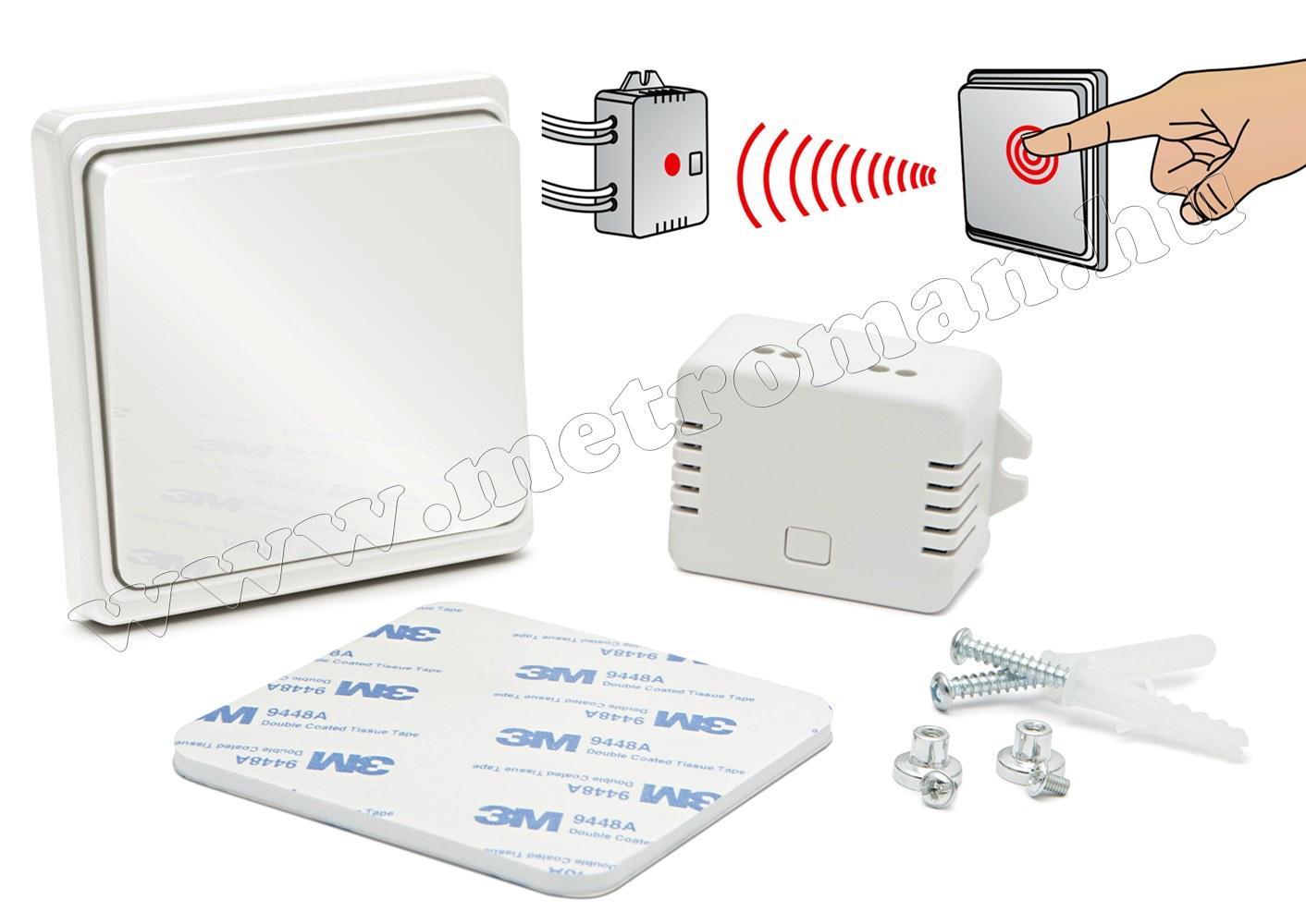 Kinetic Elem nélküli vezeték nélküli kapcsoló Delight 55350A Fényes fehér