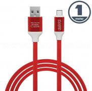 USB / USB-C telefontöltő és adatkábel 1 m piros 55436R