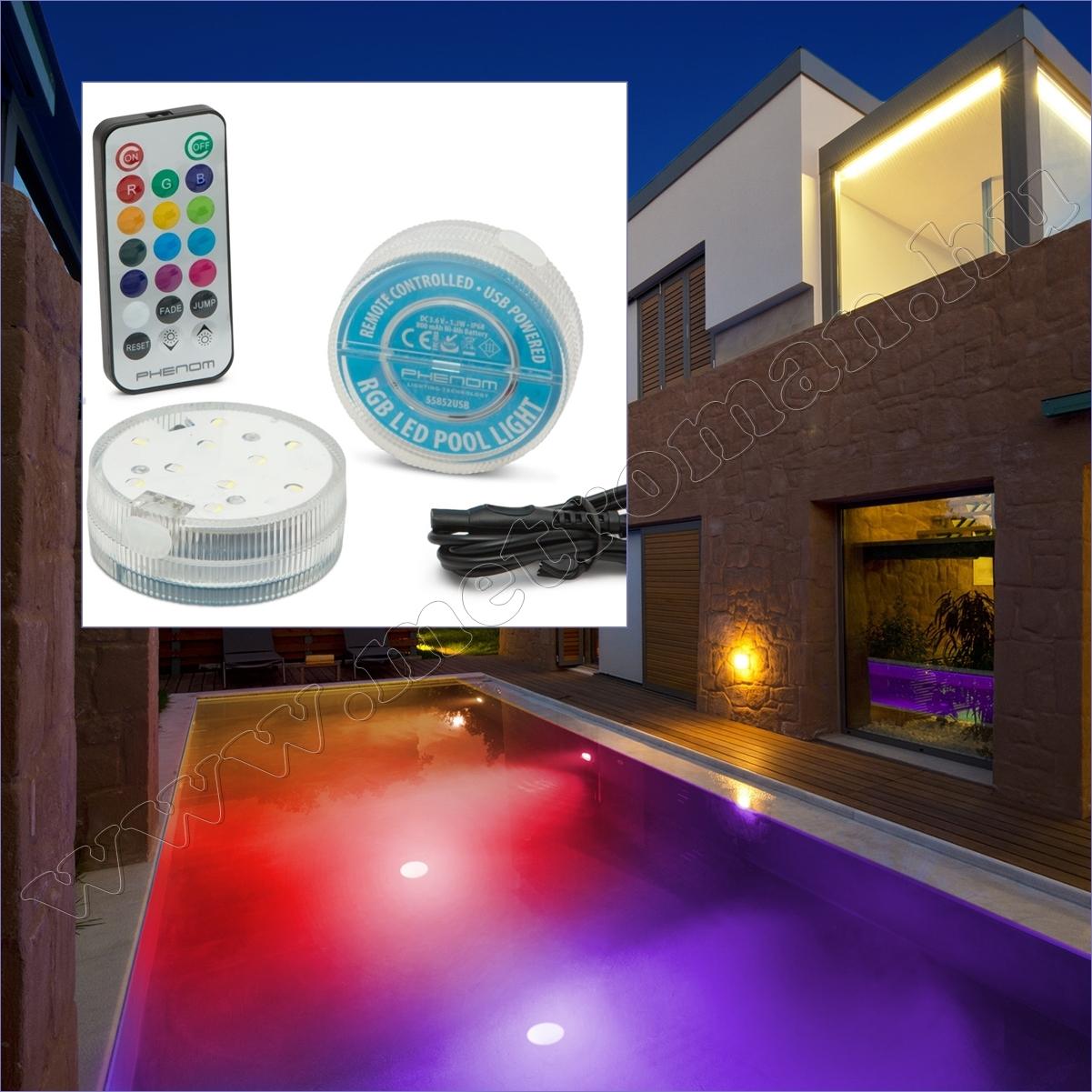 LED medencevilágítás, akkumulátoros 55852USB
