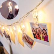 LED fényképtartó dekor csipesz elemes fényfüzér 58035