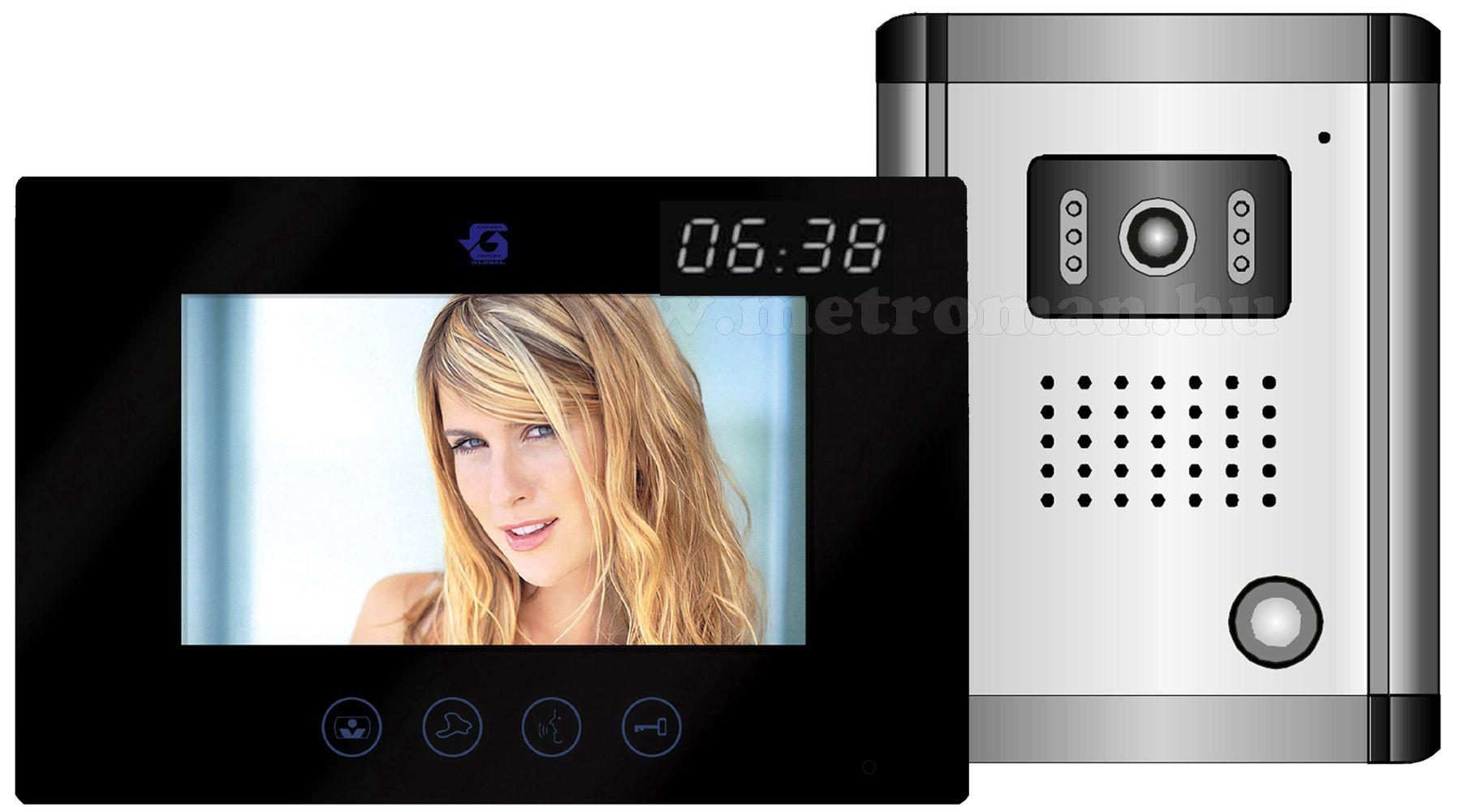 """Színes video kaputelefon szett, 7""""-os érintőképernyős TFT LCD monitorral, SEKO DF-636TS+OUT9+Clock"""