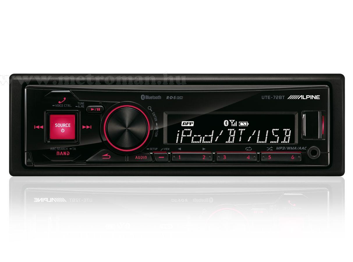 USB MP3 Bluetooth autórádió fejegység, Alpine UTE-72BT
