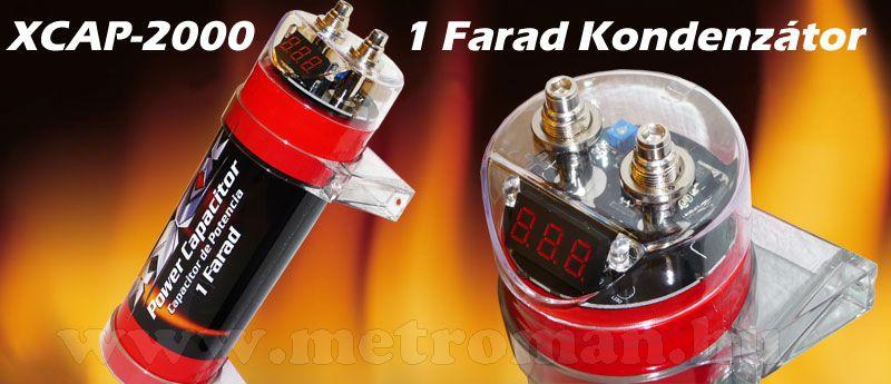 Autóhifi kondenzátor, 1 Farad, XXX XCAP-2000