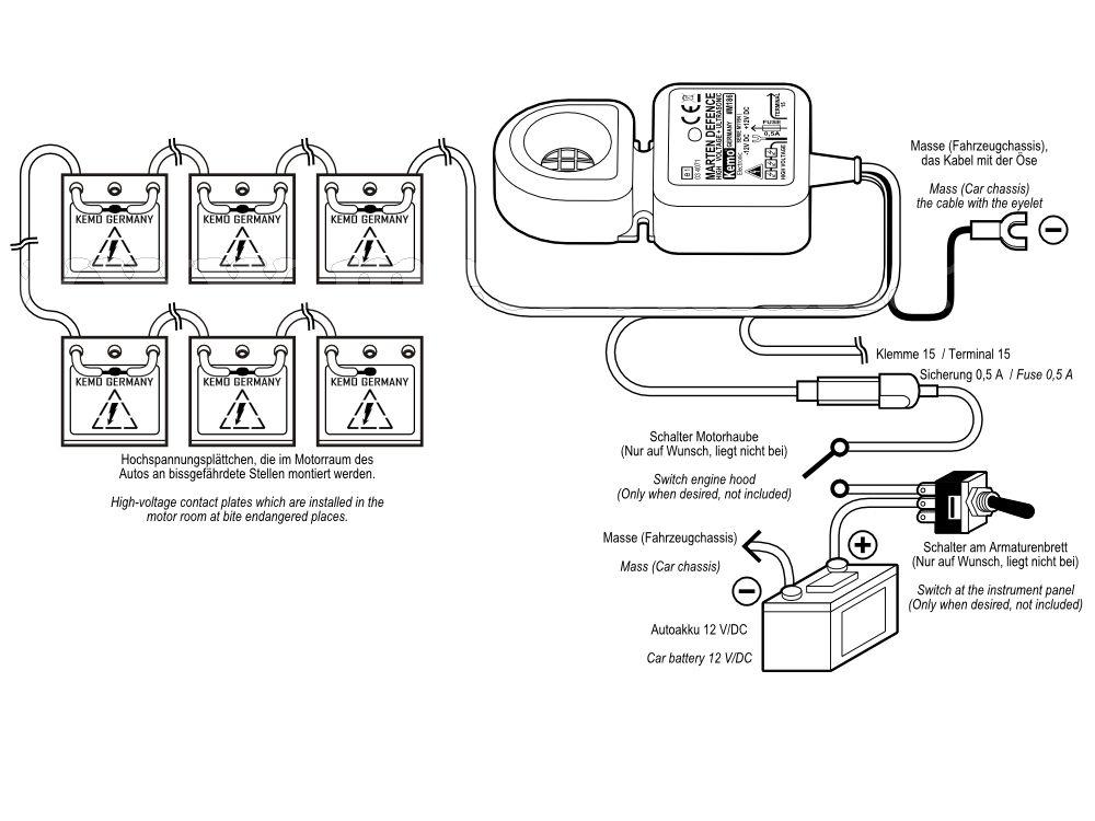 Nagyfeszültségű és ultrahangos nyestriasztó szett,  KEMO M186