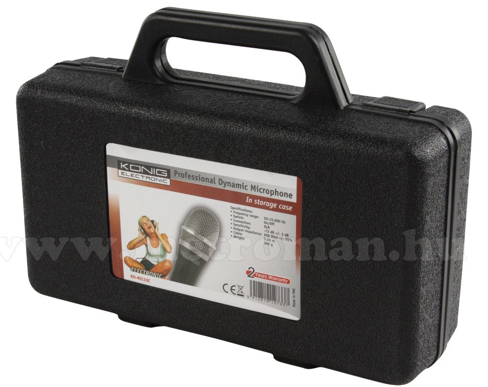 Dinamikus mikrofon , König MIC50C műanyag kofferrel