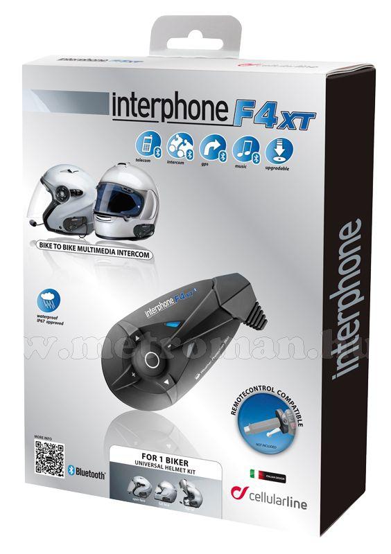 Motoros Bluetooth bukósisak kihangosító és headszett, InterPhone F4XT Single Pack