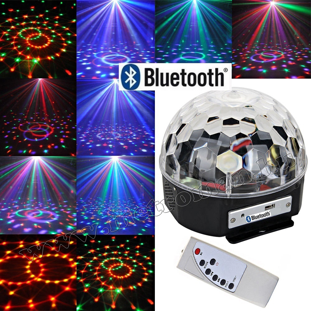 RGB LED Magic diszkó gömb és USB Bluetooth MP3 lejátszó MS39 BT