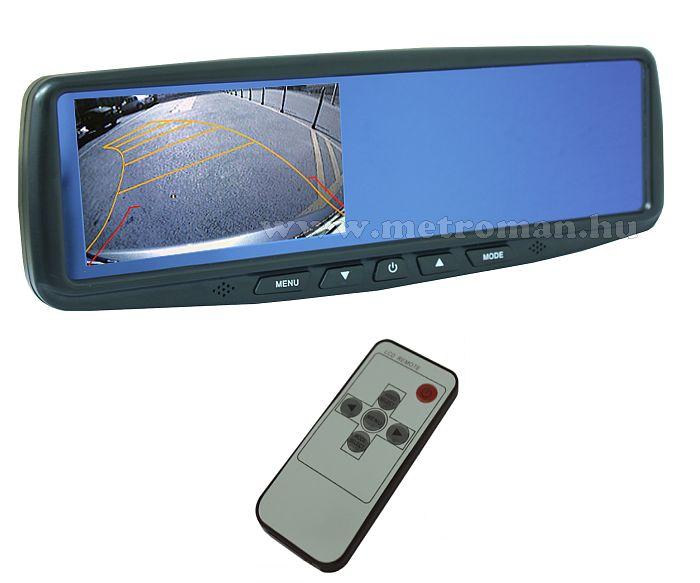 """Visszapillantó tükörbe integrált 4,3""""-os LCD monitor tolatókamerához"""