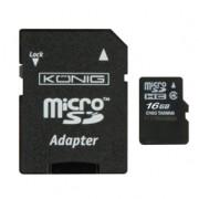 Memória kártya micro SD-HC 16 Gb König, SD adapterrel - Class 10