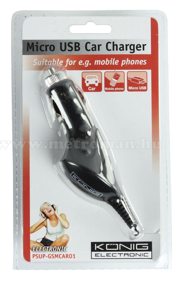 Mobiltelefon autós töltő, Micro USB, 1000 mA König GSMCAR01
