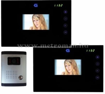 Színes multi funkciós video kaputelefon szett, 2 beltéri egységgel, DF-636TSYX2+CLOCK