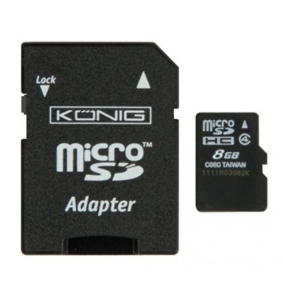 Memória kártya micro SD-HC 8 Gb König, SD adapterrel - Class 10