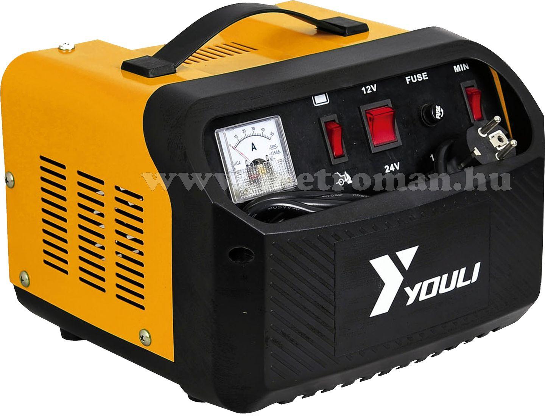 Nagyteljesítményű akkumulátor töltő, gyorsindító, bikázó, 12-24 Volt 30 Amper CT-50